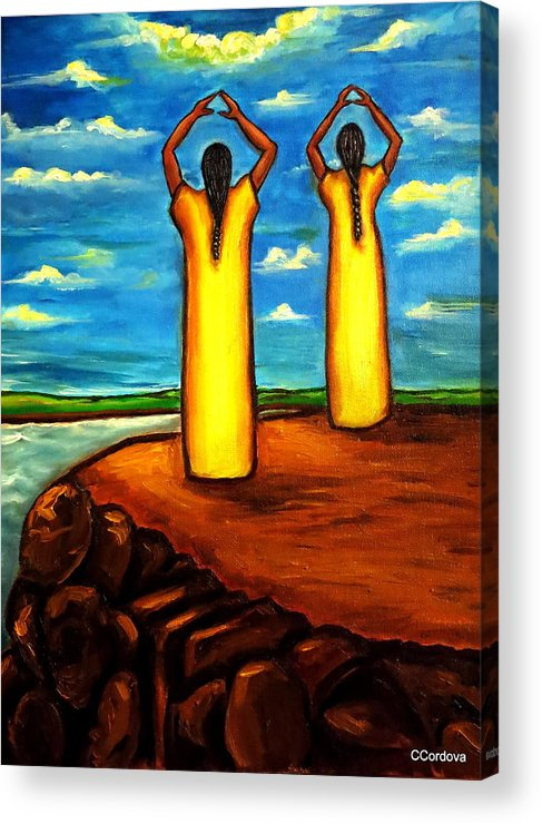 Women Acrylic Print featuring the painting Faith And Hope by Carmen Cordova