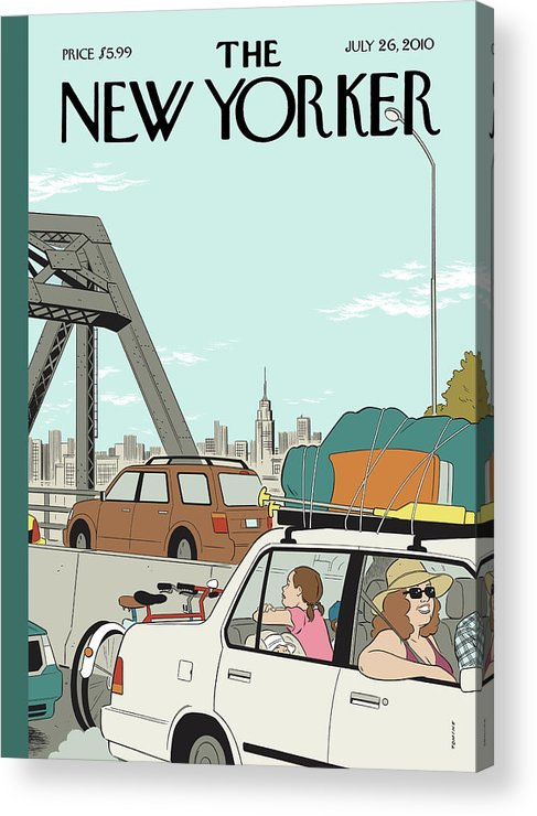 Summer Acrylic Print featuring the painting New Yorker July 26th, 2010 by Adrian Tomine