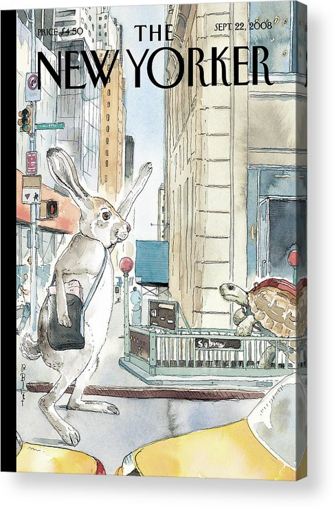 Tortoise Acrylic Print featuring the painting New Yorker September 22nd, 2008 by Barry Blitt