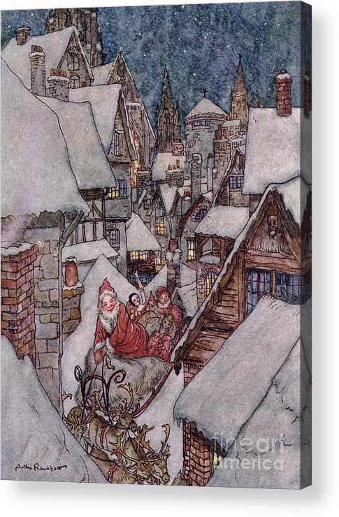 Christmas Illustrations Acrylic Print featuring the drawing 'the Night Before Christmas by Arthur Rackham