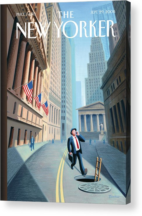 Wall Street Acrylic Print featuring the painting New Yorker September 29th, 2008 by Eric Drooker