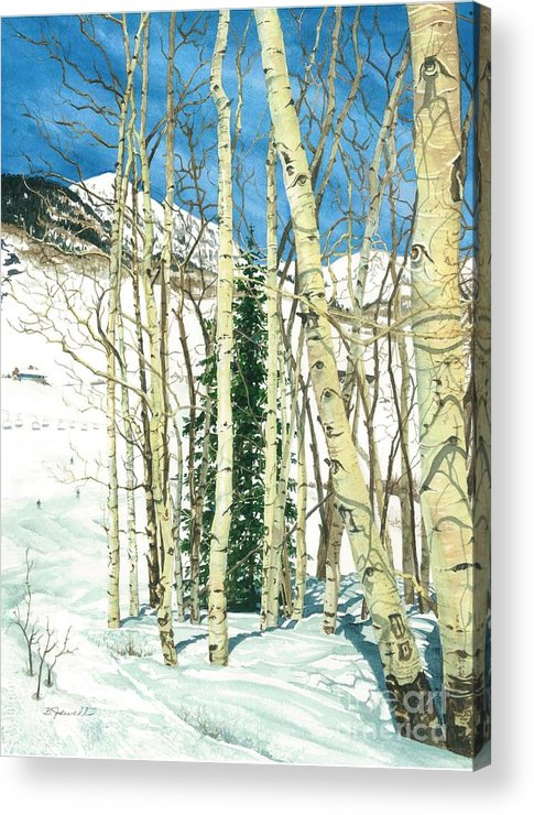 Barbara Jewell Acrylic Print featuring the painting Aspen Shelter by Barbara Jewell