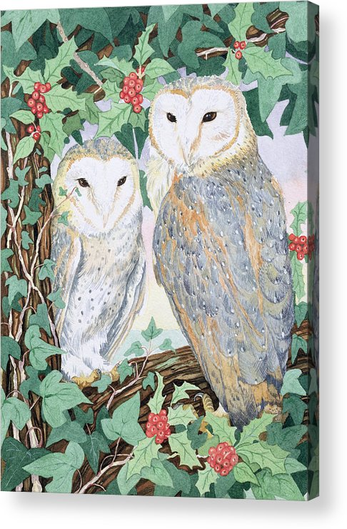Woodland Acrylic Print featuring the painting Barn Owls by Suzanne Bailey