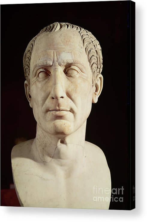 Portrait Acrylic Print featuring the sculpture Bust Of Julius Caesar by Anonymous