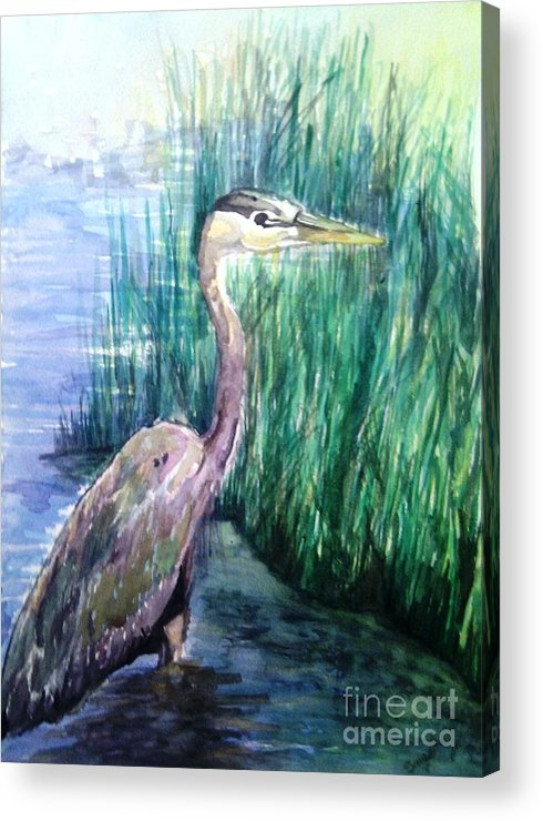Wadding Bird Acrylic Print featuring the painting By The Swamp by Sawe Catherine