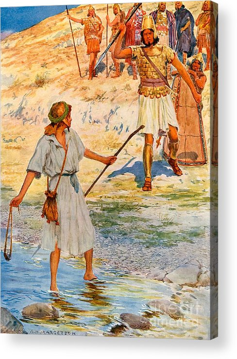 Bible; David; Goliath Acrylic Print featuring the drawing David And Goliath by William Henry Margetson