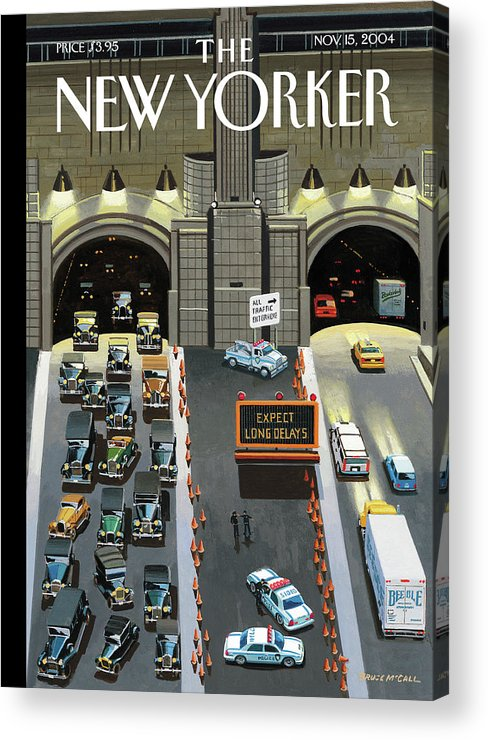 120041 120041 Bmc Bruce Mccall  Autos Acrylic Print featuring the painting Expect Long Delays by Bruce McCall