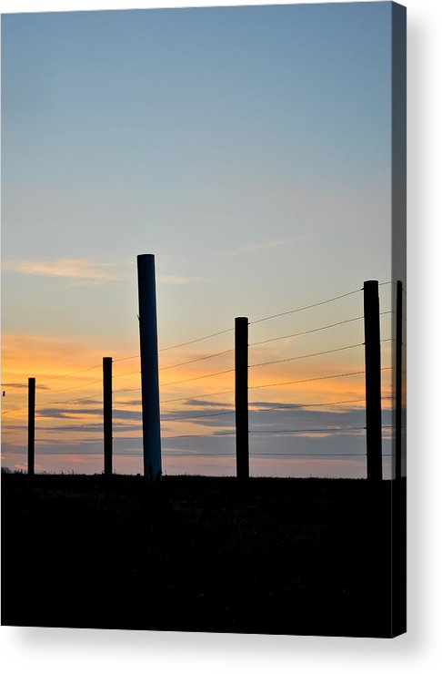 Fence Acrylic Print featuring the photograph Fence Posts At Sunset by Wayne King