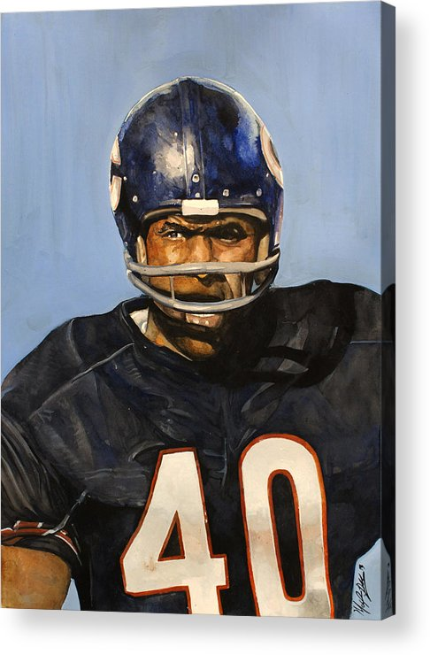 Gale Sayers Acrylic Print featuring the painting Gale Sayers by Michael Pattison