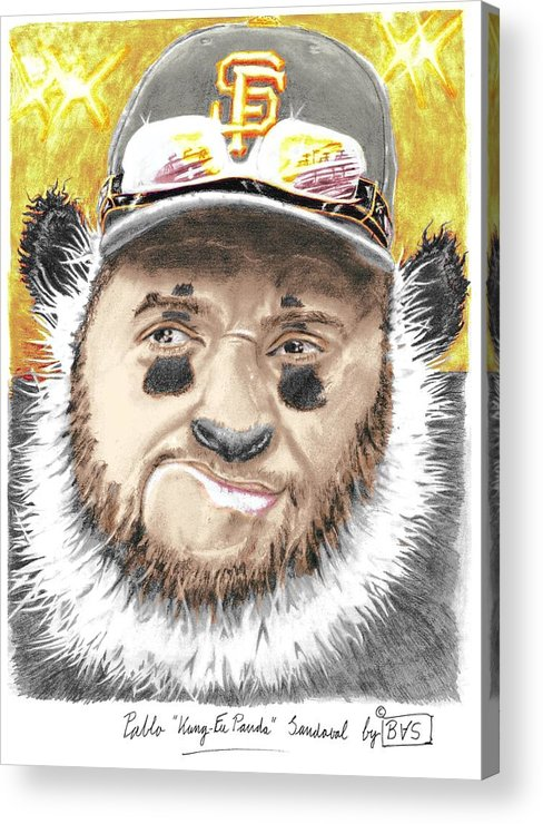 Pablo Acrylic Print featuring the drawing Giant Panda by Bas Van Sloten