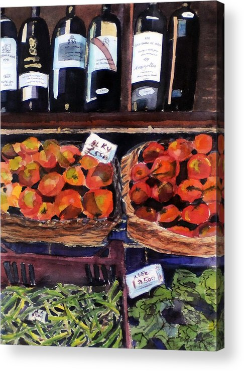 Wine Acrylic Print featuring the painting Italian Market by Susie Jernigan