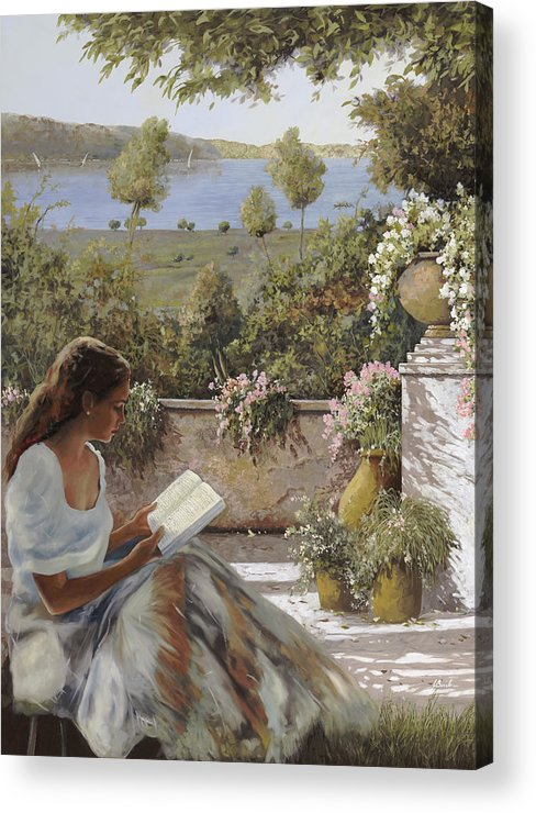 Read Acrylic Print featuring the painting La Lettura All'ombra by Guido Borelli