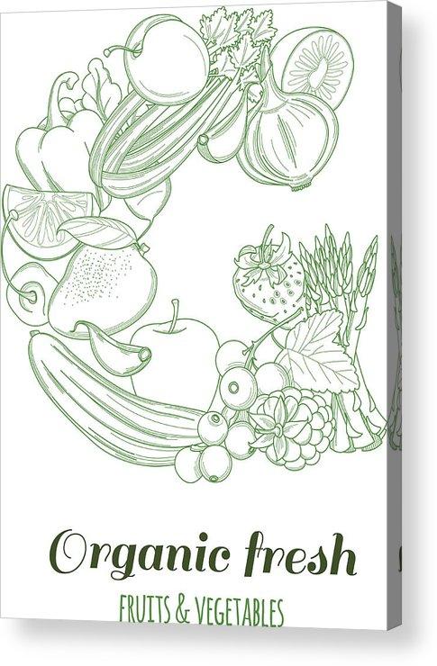 Letter G Pattern Logo Organic Farm Fresh Fruits And Vegetables Acrylic Print