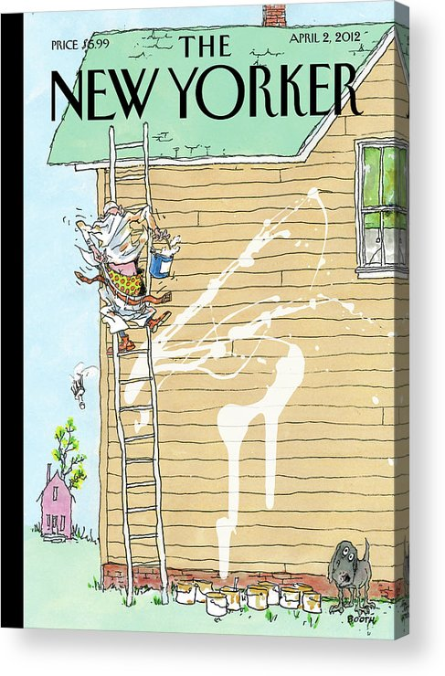 Spring Acrylic Print featuring the painting Man On Ladder Painting House Making A Mess by George Booth