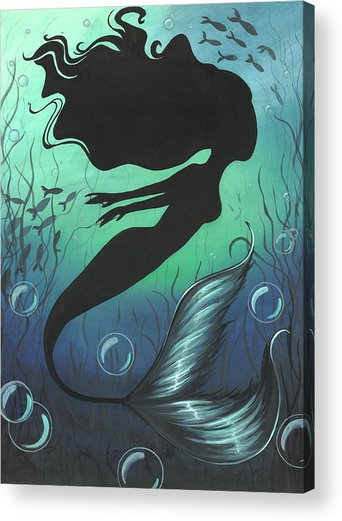 Mermaid Acrylic Print featuring the painting Mermaid Of The Deep Sea by Elaina Wagner