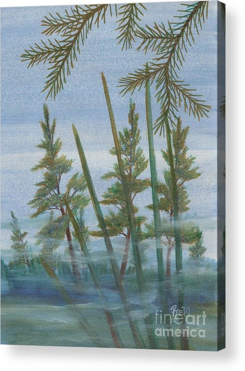 Landscape Acrylic Print featuring the painting Mist In The Marsh by Robert Meszaros
