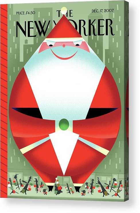 Santa Claus Acrylic Print featuring the painting New Yorker December 17th, 2007 by Bob Staake