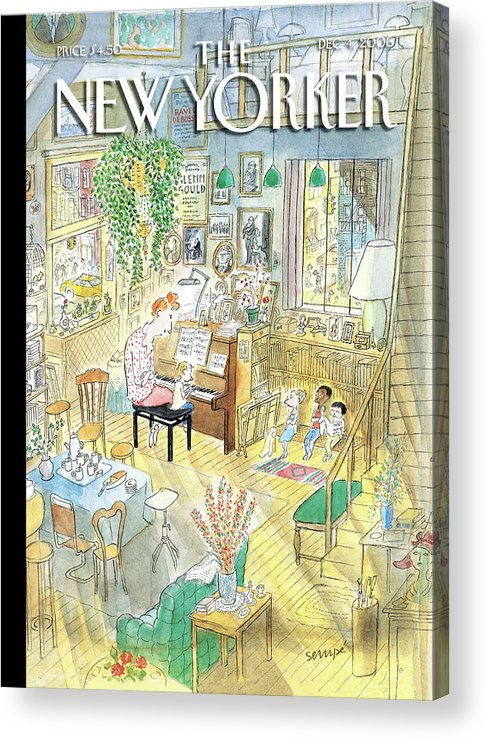 Piano Children Kids Teacher Home House Living Room Acrylic Print featuring the painting New Yorker December 4th, 2006 by Jean-Jacques Sempe