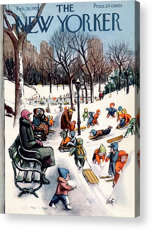 New York City Acrylic Print featuring the painting New Yorker February 26th, 1955 by Arthur Getz