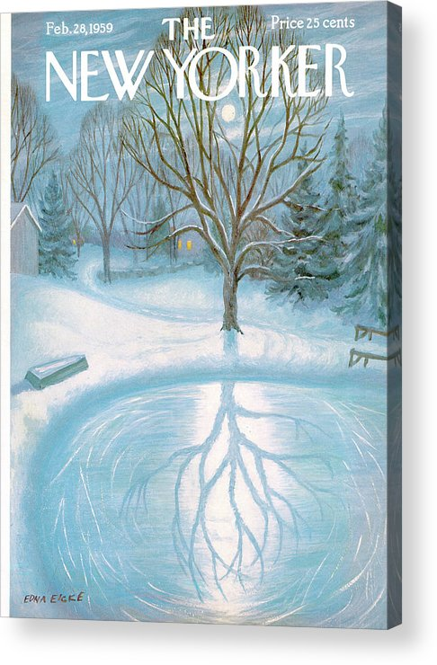 Edna Eicke Eed Season Seasonal Snow Winter Pond Lake Frozen Ice Tree Reflection Moon Moonlight Full House Home Property Lawn Yard Backyard Night Evening Sumnerok Artkey 49561 Acrylic Print featuring the painting New Yorker February 28th, 1959 by Edna Eicke