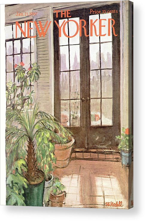 Winter Garden Acrylic Print featuring the painting New Yorker January 21st, 1967 by Frank Modell