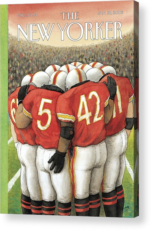 Football Sports Team Players Gay Homosexual Super Bowl Male Men Arena Stadium Harry Bliss Hbl Hbl Artkey 65962 Acrylic Print featuring the painting New Yorker January 27th, 2003 by Harry Bliss