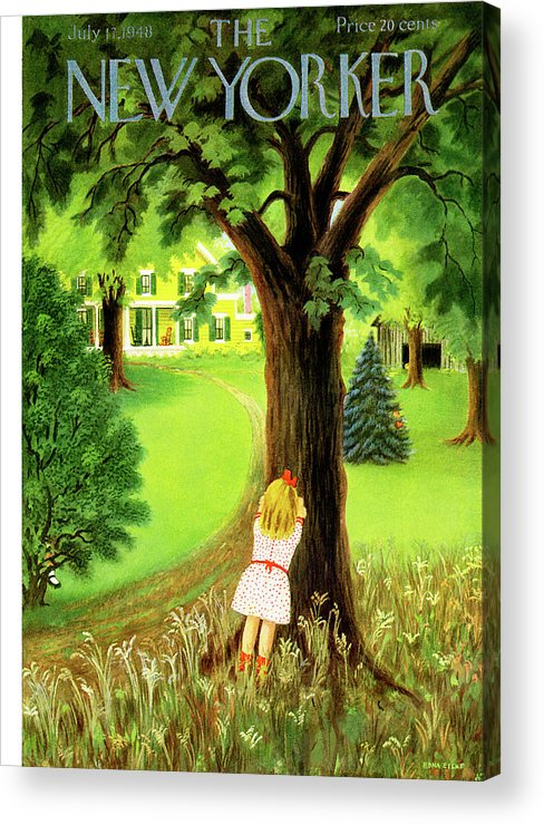 Kid Kids Child Children Little Boy Boys Girl Girls Play Playing Suburb Country Community Town Small Suburban Quaint Village  House Home Property Lawn Yard Hide And Go Seek Edna Eicke Eed Sumnerok Artkey 49065 Acrylic Print featuring the painting New Yorker July 17th, 1948 by Edna Eicke