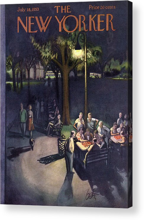 Urban Acrylic Print featuring the painting New Yorker July 18th, 1953 by Arthur Getz