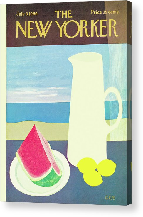 (an Image Of A Pitcher With Lemons Beside It Acrylic Print featuring the painting New Yorker July 9th, 1966 by Charles E. Martin