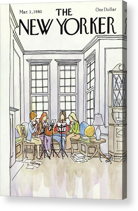 (a Quartet Of Women Playing Recorders In A House.) People Music Entertainment Leisure Hoobies Household Interior Arthur Getz Agt Artkey 50470 Acrylic Print featuring the painting New Yorker March 3rd, 1980 by Arthur Getz