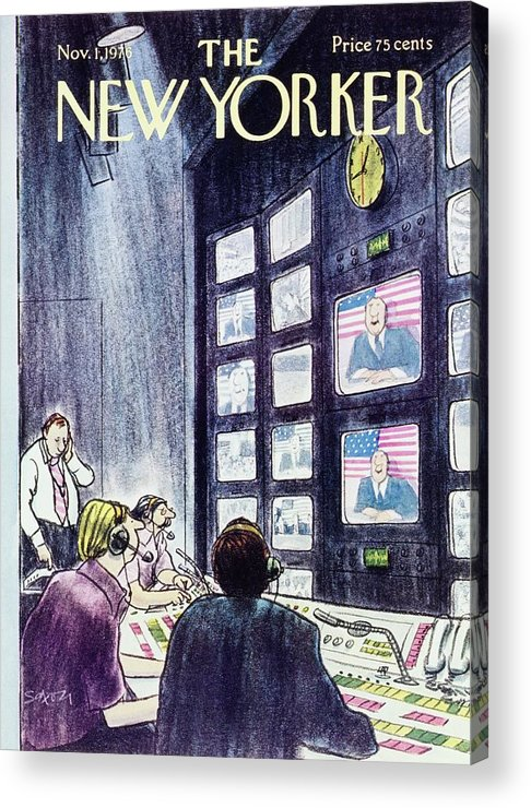 Illustration Acrylic Print featuring the painting New Yorker November 1st 1976 by Charles D Saxon