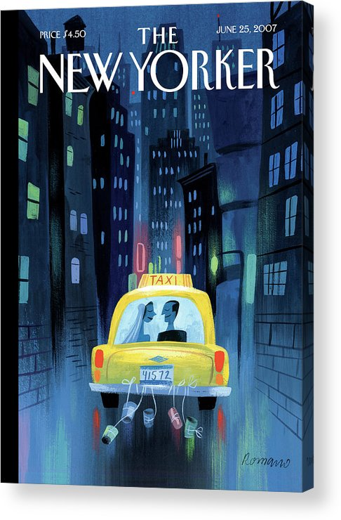 Taxi Cab Wedding Marriage Couple Cans City Urban Night Acrylic Print featuring the painting Newlywed Couple In A Taxi by Lou Romano