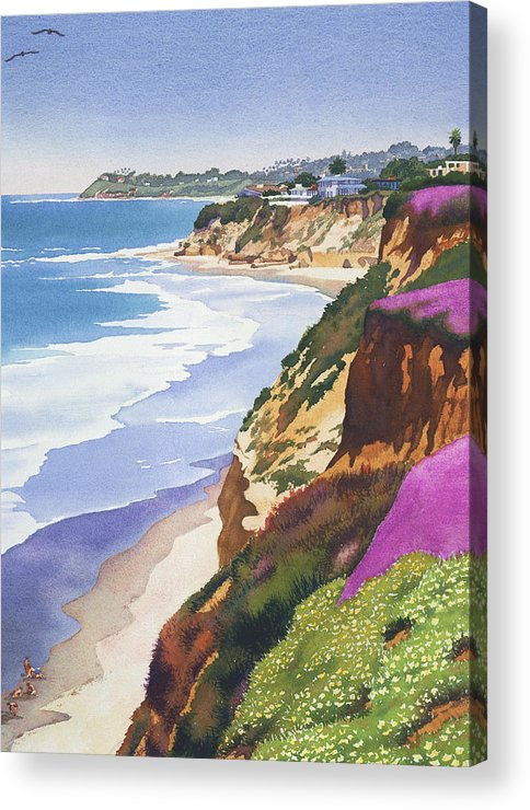 North County Acrylic Print featuring the painting North County Coastline by Mary Helmreich