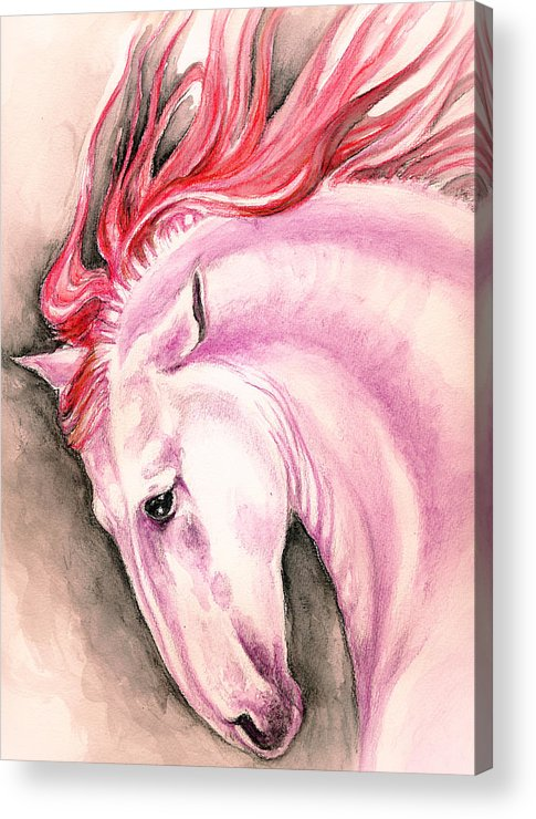 Horse Acrylic Print featuring the painting Pink Andalusian by Evey Studios