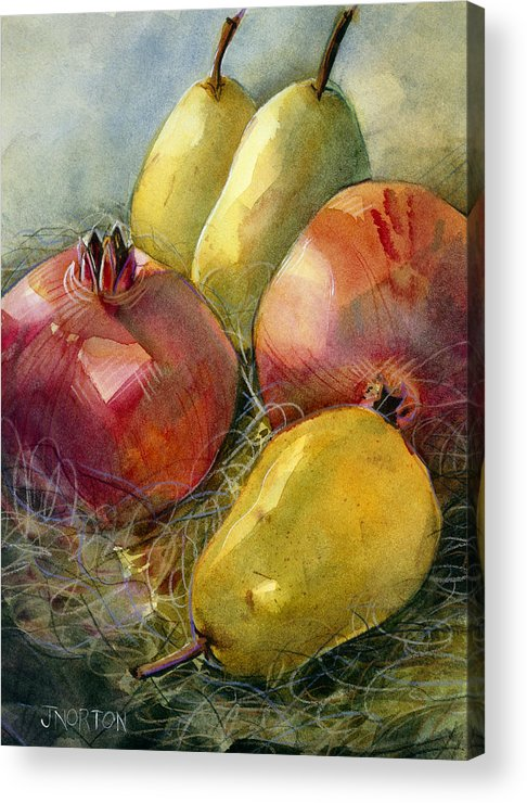 Jen Norton Acrylic Print featuring the painting Pomegranates And Pears by Jen Norton