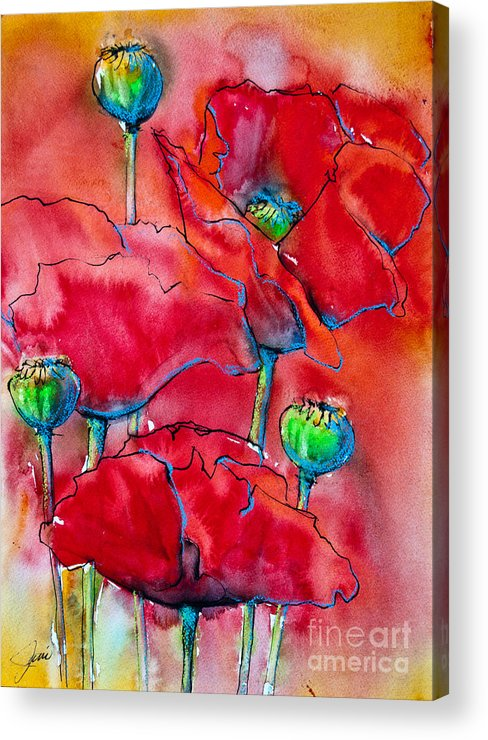 Poppies Acrylic Print featuring the painting Poppies 2 by Jani Freimann