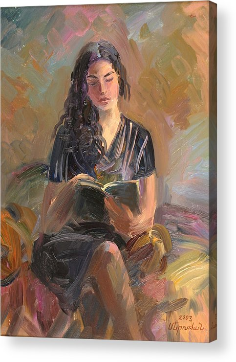 Etude Acrylic Print featuring the painting Portrait Of Mery by Meruzhan Khachatryan