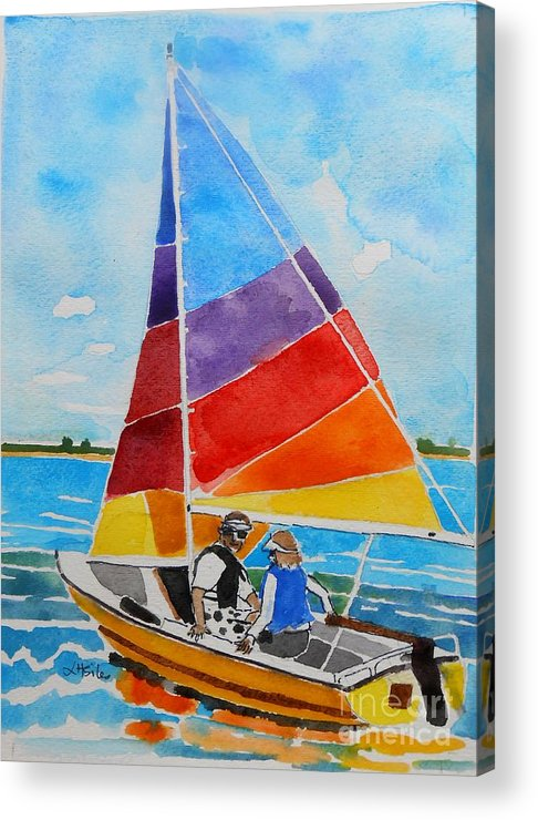 Sail Boat Acrylic Print featuring the painting Sailing On The Choptank by Lesley Giles
