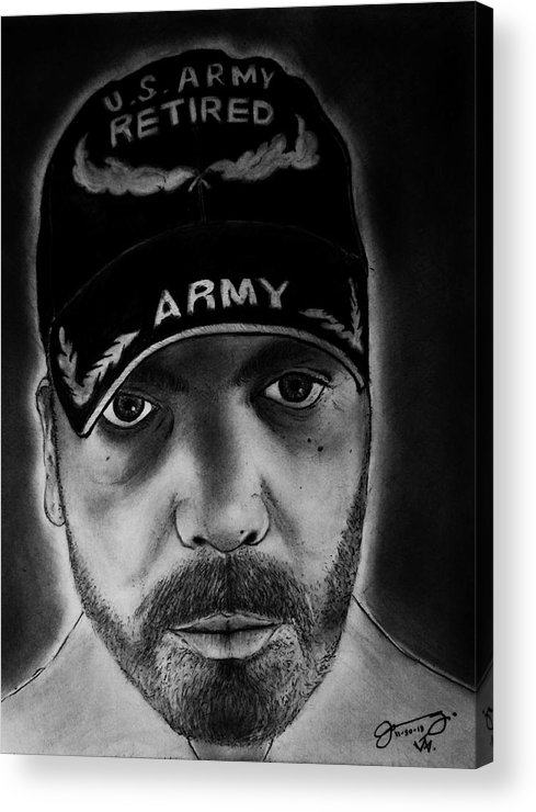 Self-portrait Acrylic Print featuring the drawing Self Portrait With Us Army Retired Cap by Jose A Gonzalez Jr