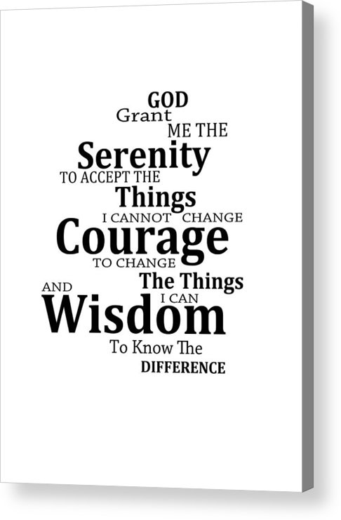 graphic about Serenity Prayer Printable referred to as Serenity Prayer 6 - Easy Black And White Acrylic Print