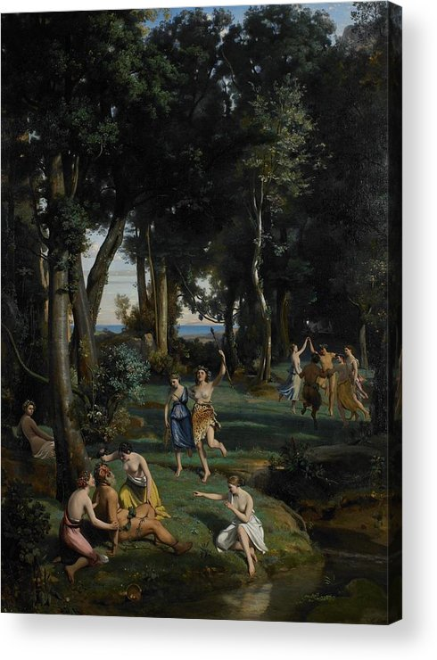 God; Goddess; Goddesses; Landscape; Idyllic; Stream; Idyll; Courting; Courtship; Mythological; Ancient Acrylic Print featuring the painting Silenus by Jean Baptiste Camille Corot