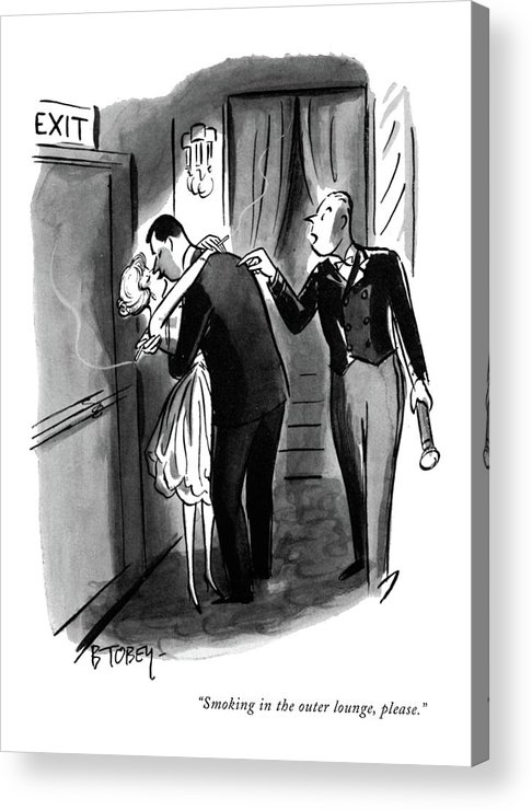 (usher To Couple Who Are Necking In The Inner Lounge. They Both Have Lit Cigarettes But Aren't Smoking Them.) Fitness Acrylic Print featuring the drawing Smoking In The Outer Lounge by Barney Tobey