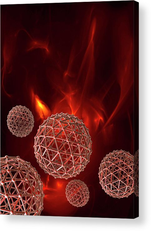 Artwork Acrylic Print featuring the photograph Spheres On Red Background by Victor Habbick Visions