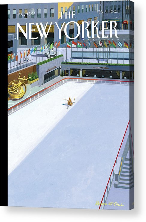 Ice Acrylic Print featuring the painting Stocked Pond by Bruce McCall
