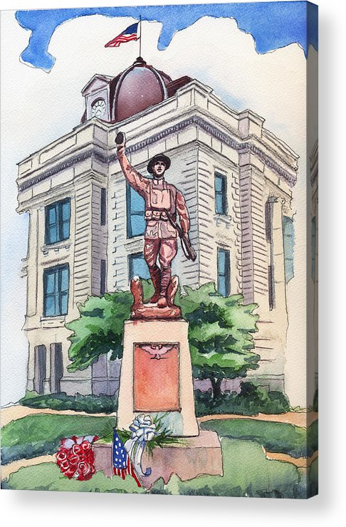 Doughboy Statue Acrylic Print featuring the painting The Doughboy Statue by Katherine Miller