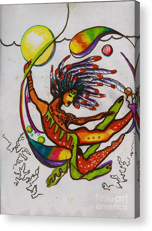 Kundalini Acrylic Print featuring the painting The Goddess Of Elements by Donna Chaasadah
