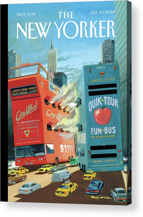 Nyc Acrylic Print featuring the painting Two Huge Double Decker Tourist Buses Shooting by Bruce McCall