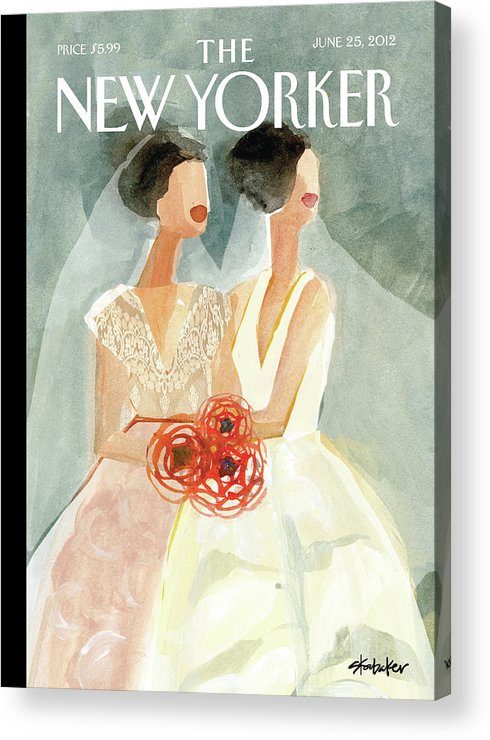 June Brides Acrylic Print featuring the painting June Brides by Gayle Kabaker