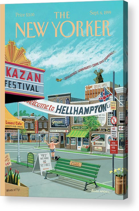 Hamptons Acrylic Print featuring the painting Welcome To Hellhampton by Bruce McCall