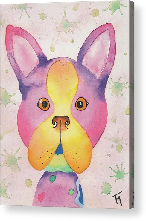 Boston Terrier Acrylic Print featuring the painting Willow by Kat Meza